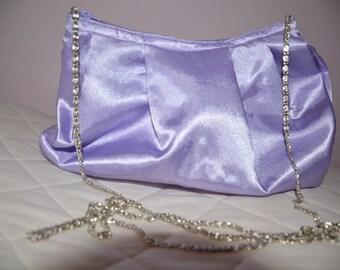 Rich Lilac Satin Fabric Wedding Bag Clutch Formal Evening Pochette Bag