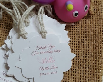 Personalized Favor Tags 2'', Baby Girl Shower  tags, Thank You tags, Favor tags, Gift tags, Rustic Tag, baby shower, baby boy