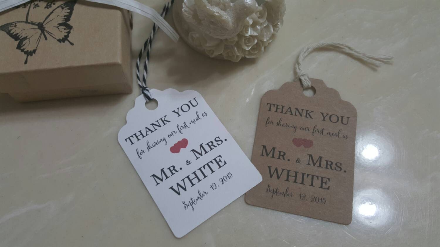 Embossed Wedding Gift Tags : Personalized Favor Tags 2.5L x1.8w Wedding tags