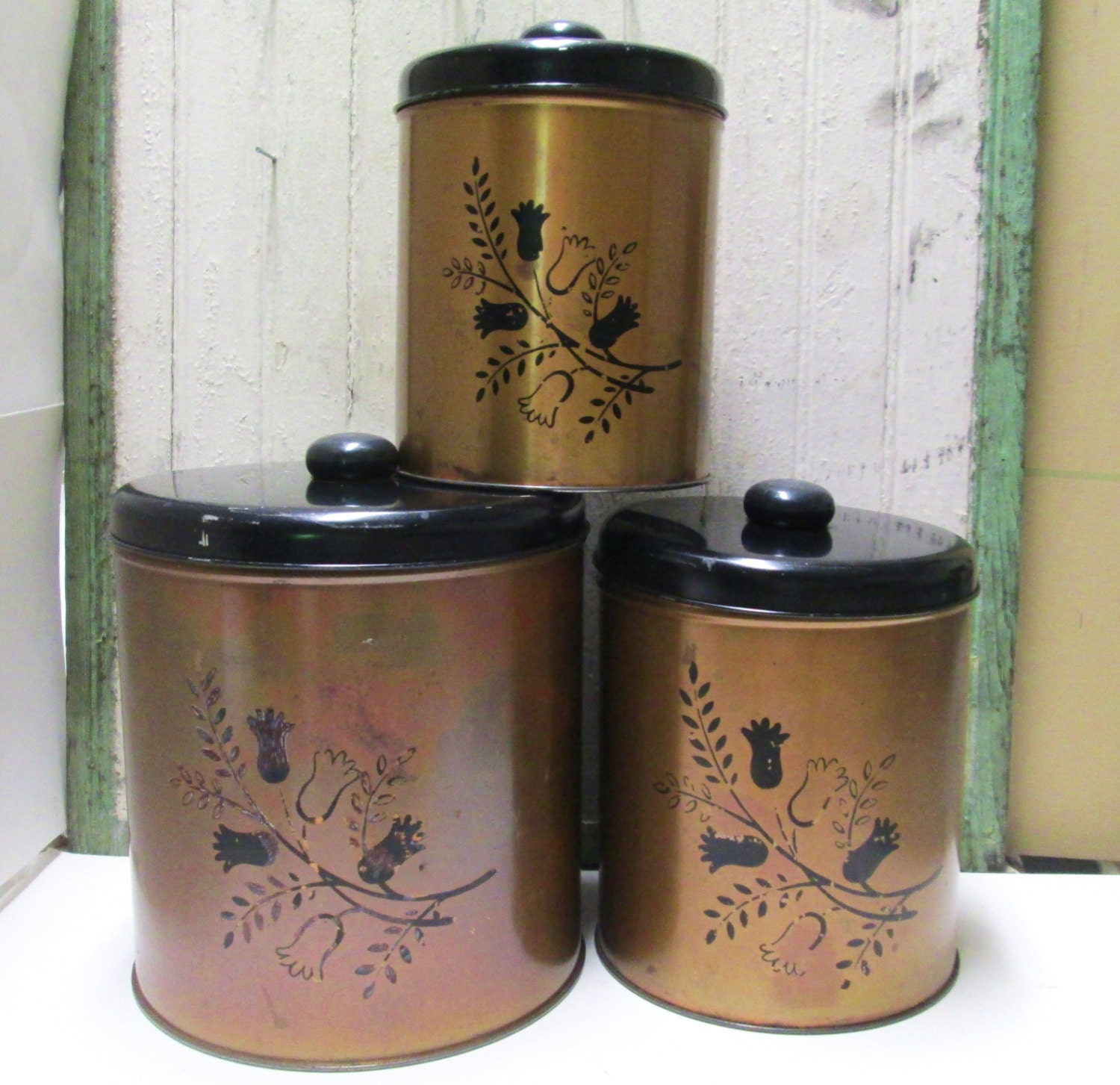 Kitchen Canister Set Vintage Metal Coppertone Copper Black Tin
