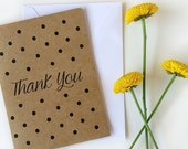 Thank You Polka Dots Stationery-Five handmade cards, featuring hand illustrated design, printed onto natural white/kraft card stock.