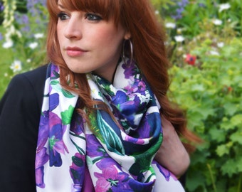 Miss violet / silk scarf - large - FREE SHIPPING