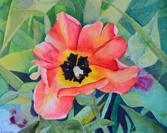 Watercolor painting original floral paintings tulip flowers orange tulip watercolor painting original fine art painting floral paintings