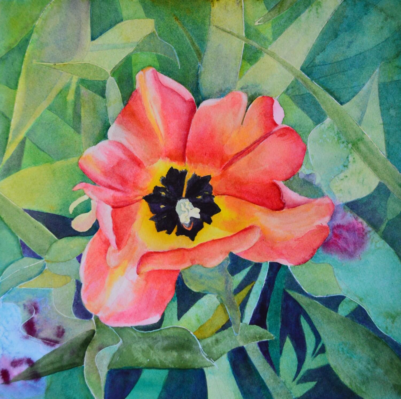 Watercolor Flower Painting: Watercolor Painting Original Floral Paintings Tulip Flowers