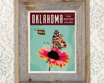 Vintage Oklahoma Series Poster #3 - Gaillardia - OK State Wildflower