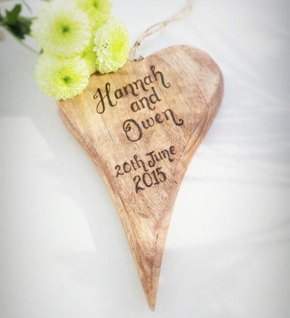 Personalised Wooden Heart Wedding Gift : Personalised Wooden Heart wedding gift rustic chunky mum mummy mom BFF ...