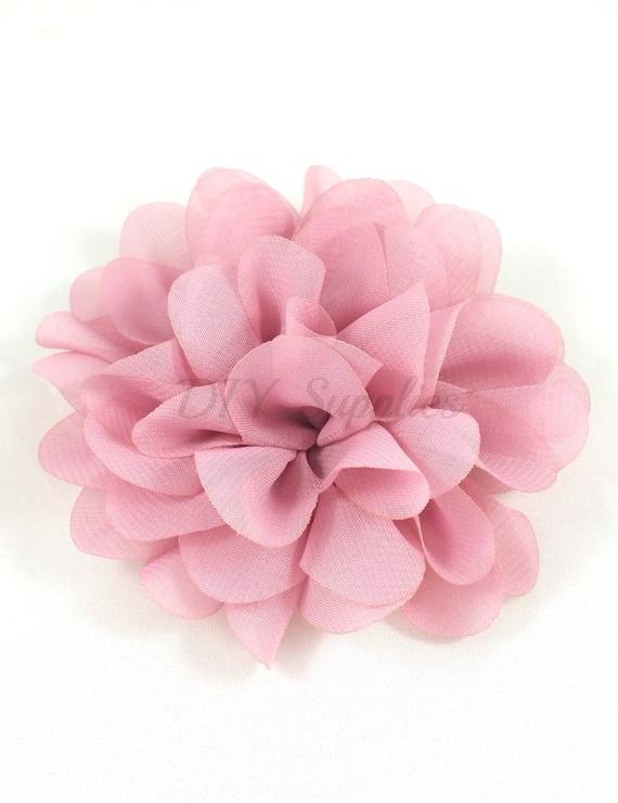 Light Mauve Chiffon Scalloped Flower Diy Headband Fabric