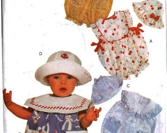 Vogue Sewing Pattern 9892 Infants' Romper, Hat Size:  12-29lbs  Uncut