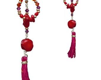Earrings red Pompom fancy gold-jewel high fantasy
