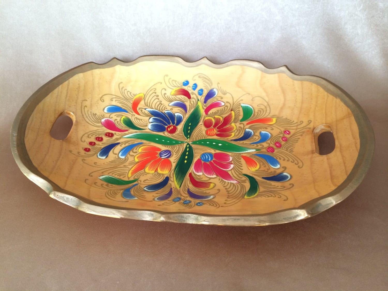 Mexican Batea Tray Hand Painted Tray Mexican Folk Art