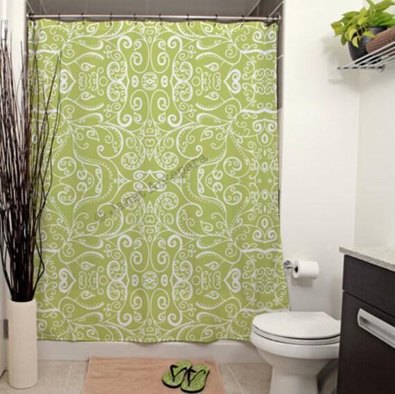 Silent era avocado printed shower curtain by for Avocado green bathroom ideas