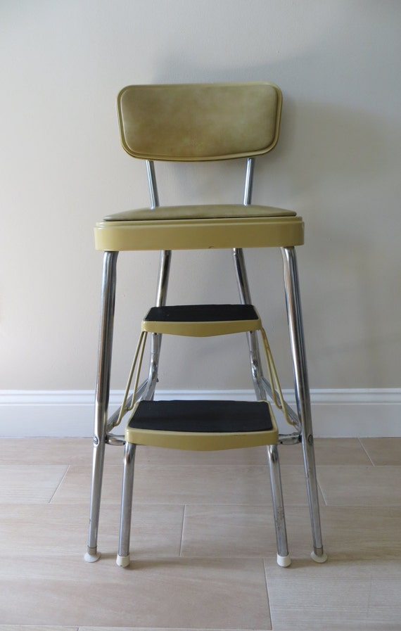 Vintage Mid Century Step Stool With Cushioned Seat And Back