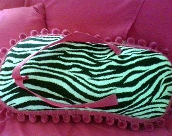 zebra print flip flop pillow