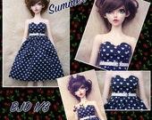 BJD SD 1/3 summer navy blue heart dress with belt