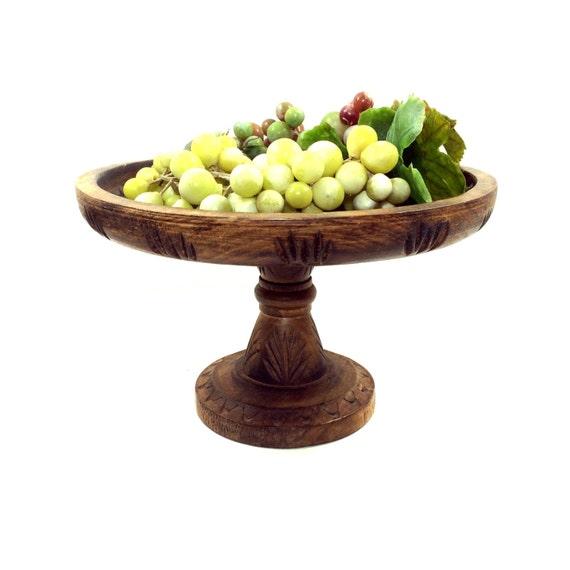 Vintage carved wood fruit stand pedestal bowl