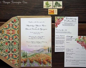 Lovely Vineyard Wedding Invitations   Custom Watercolor Invitation Suite   Winery  Invites   Florentine Design   Invitation