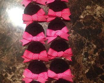 Crochet Minnie Mouse ear hair clips