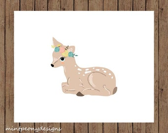 Sitting deer with floral crown.  8x10 digital printable.  Nursery decor print.