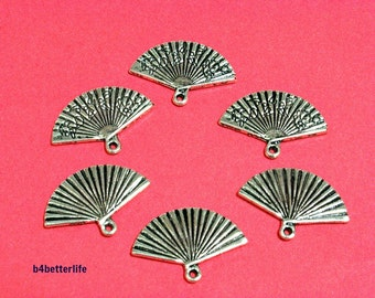 """Lot of 24pcs Antique Silver Tone Double Sided """"Chinese Fan"""" Metal Charms. #JL2987."""