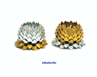2pcs Gold And Silver Colored Mini Size Origami Lotus. (4D Glittering paper series).