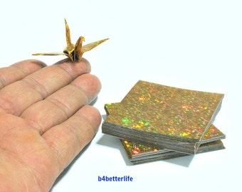 "200 Sheets 2"" x 2"" Gold Color DIY Chiyogami Yuzen Paper Folding Kit for Origami Cranes ""Tsuru"". (4D Glittering paper series)."