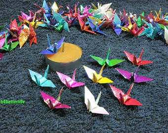 "100pcs Assorted Colors 1.5"" Origami Cranes Hand-folded From 1.5""x1.5"" Square Paper. (TX paper series). #FC15-36."