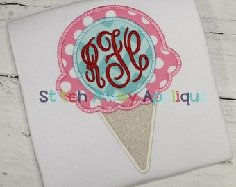 Monogram Circle Ice Cream Cone Machine Applique Design