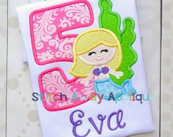 Under Sea Mermaid Birthday Number Set Machine Applique Design