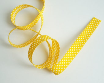 3 yards Bias Tape, Double Fold Bias Tape, Bias Tape Fold,Bias Binding Double Fold,Polka Dot Bias Tape,Fabric Binding, Yellow Bias Tape
