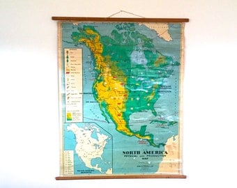 Vintage Map North/South America- Pull-Down Wall Chart - Educational Classroom Poster