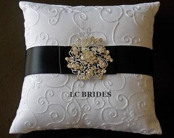 Wedding Ring Bearer Pillow Black