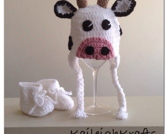 Cow Crochet Hat and Booties (made to order: newborn to child)