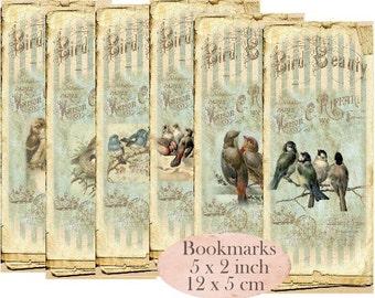Birds Bookmarks Vintage Instant Download digital collage sheet E071 Vintage Paper