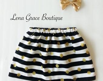 Black & White Striped Skirt w/Gold Hair Bow - Baby Skirt - Toddler Skirt - Little Girl Skirt - Cotton Skirt - Spring/Summer Skirt Set