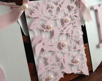 Pink & White Girl Baby Shower Banner