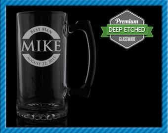 Groomsmen Gift, Personalized Beer Mugs, Personalized Half Circle Design Monogram 26.5 oz Etched Mugs, Set of 6+, FREE SHIPPING
