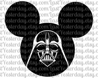 Darth Vader Star Wars Mickey Head DIGITAL DOWNLOAD svg dxf jpg png
