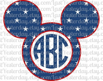Stars Patriotic USA Monogram Mickey Head DIGITAL DOWNLOAD svg dxf jpg png