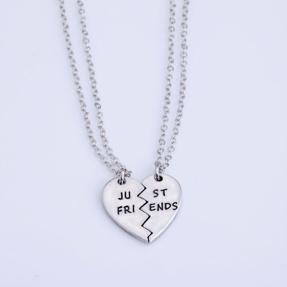 Just friends 2 piece heart shaped best friends necklace like this item mozeypictures Image collections