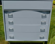 "Sold Grey Painted chest of drawers ""part of a set"" Modern clean lines lucite hardware silver legs"