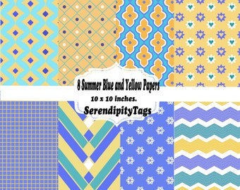 Summer Blue and Yellow papers (8)