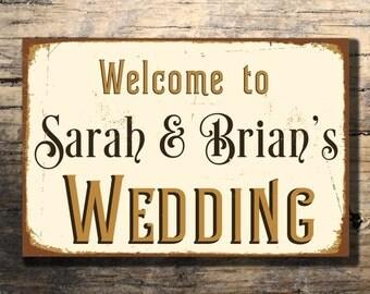 CUSTOM WEDDING SIGN, Customizable Wedding Signs, Welcome Wedding Sign, Vintage style Welcome Wedding Sign, Wedding Reception decor, Wedding