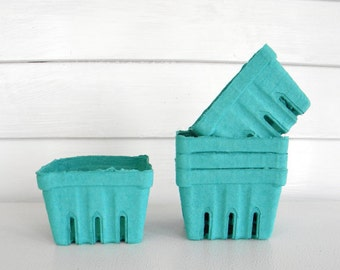 30 qty. Aqua Green Pint Berry Baskets, Berry Till, Paper Pulp Basket, Wedding Favor Basket, Farm Theme Party Favor, Spring Favor Basket