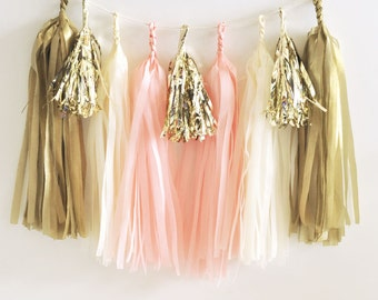 Pink & Gold Tassel Garland - Metallic Gold Tissue Garland, Garland, Metallic Mini Gold Tassel Garland, DIY Tassel Garland Kit-EB3086