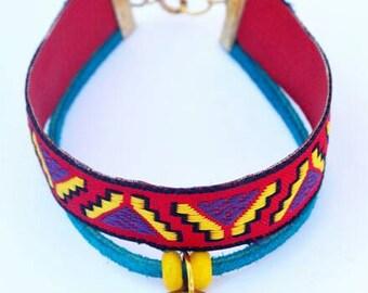 Red Tribal Embroidered Sari Silk Charm Bracelet