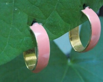 Pink Enameled Gold Hoop Earrings, Post Back - Free Shipping