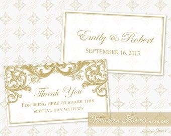 DIY Printable Wedding Favor Tag Template | Printable Favor Tag (rectangle) | Victorian Florals in Golden