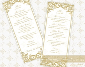 DIY Printable Wedding Menu Template | Printable Menu (tea length) | Victorian Florals in Golden