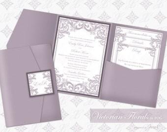 DIY Printable Wedding Pocket Invitation Template | Printable Pocket Invitation (wide) | Victorian Florals in Fog