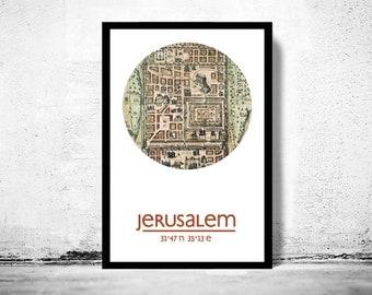 JERUSALEM - city poster - city map poster print